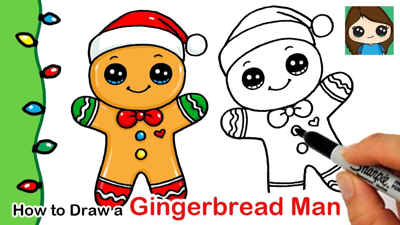 How To Draw A Gingerbread Man Christmas Series 2 Youtube Easy Christmas Drawings Cute Drawings Gingerbread Man Drawing