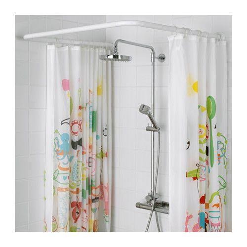 VIKARN Tringle à rideau de douche, blanc   IKEA | Curtain rods