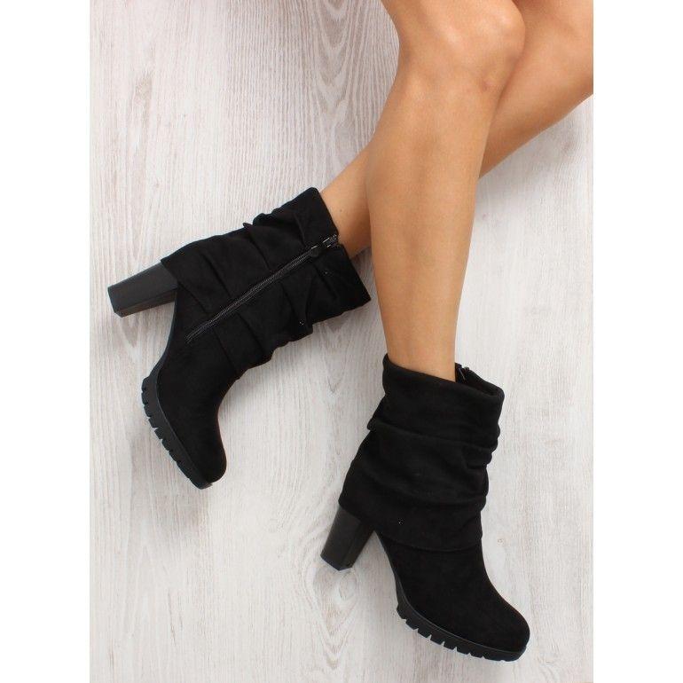 Stylowe Botki Z Golfem Jk41 Black Tanie Buty Sklep Immoda Boots Shoes Ankle Boot