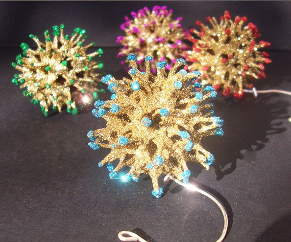 4 Pack Gold Sweetgum Ball Hand Made Embellished Christmas