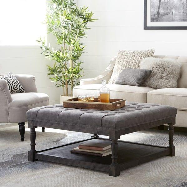 Creston Smoke Linen Tufted Ottoman | for the home | Pinterest