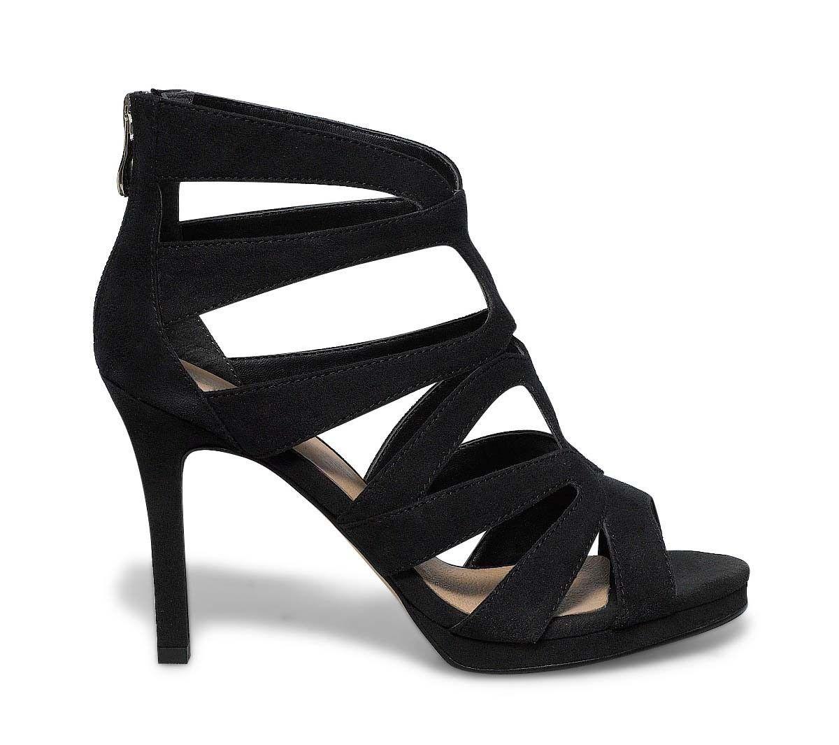 Chaussures ouvertes à talons de 10 cm et petit plateau à l'avant de 1 cm.  Fermeture à glissière au niveau du talon et tige de 9 cm environ.