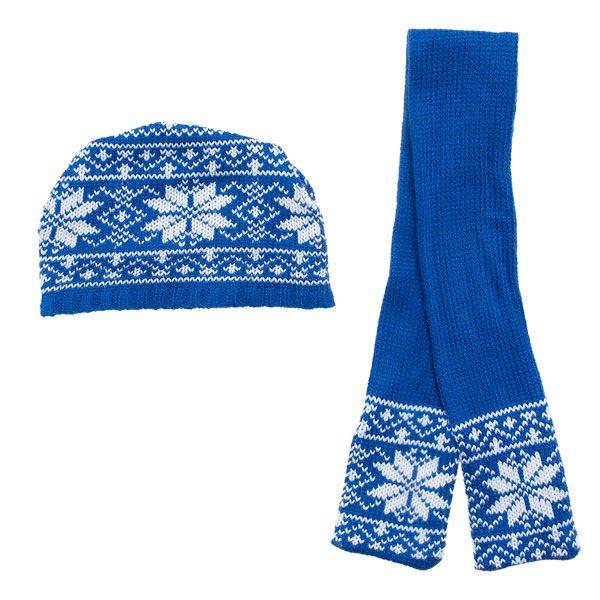 fair isle snowflake scarf pattern | Blue Fair Isle Hat & Scarf Set ...