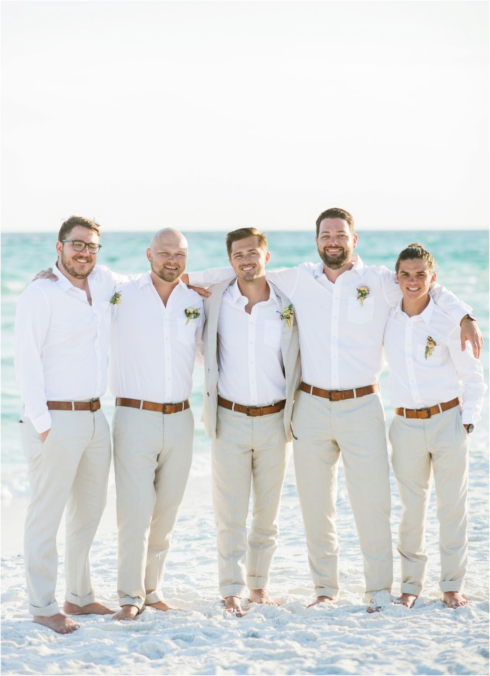 b7b2479d White and taupe perfect attire for the groom's part for your beach wedding  Boda Al Atardecer