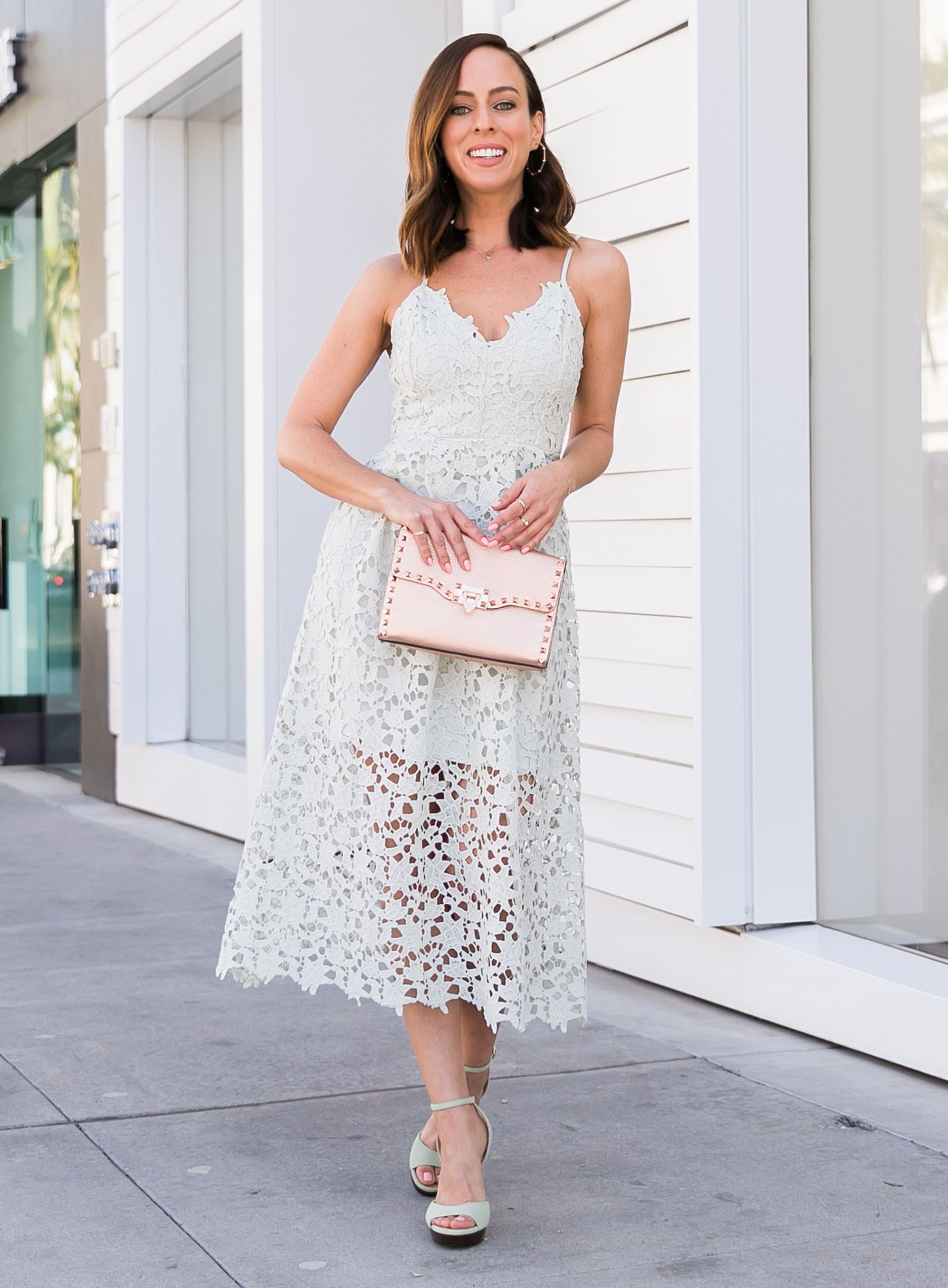 49f4b3d3d Sydne Style shows what to wear to a casual wedding in astr lace midi dress   lace  mint  weddings  rosegold  valentino  pastels