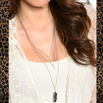 Long, layered feather necklace. Simple layered necklace. (beautifulyoubymegan.com)