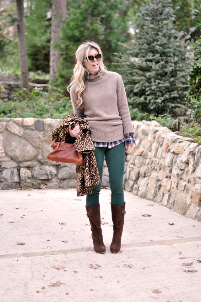 ...love Maegan:: Wintery Warm in Green Cords, Leopard Print & Plaid...