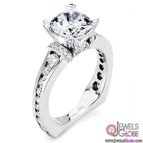 Great Euro shank and channel set diamond engagement ring design