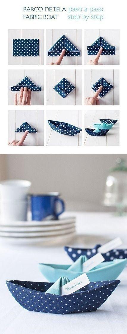 Photo of Folding napkins as a ship DIY #maritim #deko #Tischdeko #diynapkinfolding Ser …
