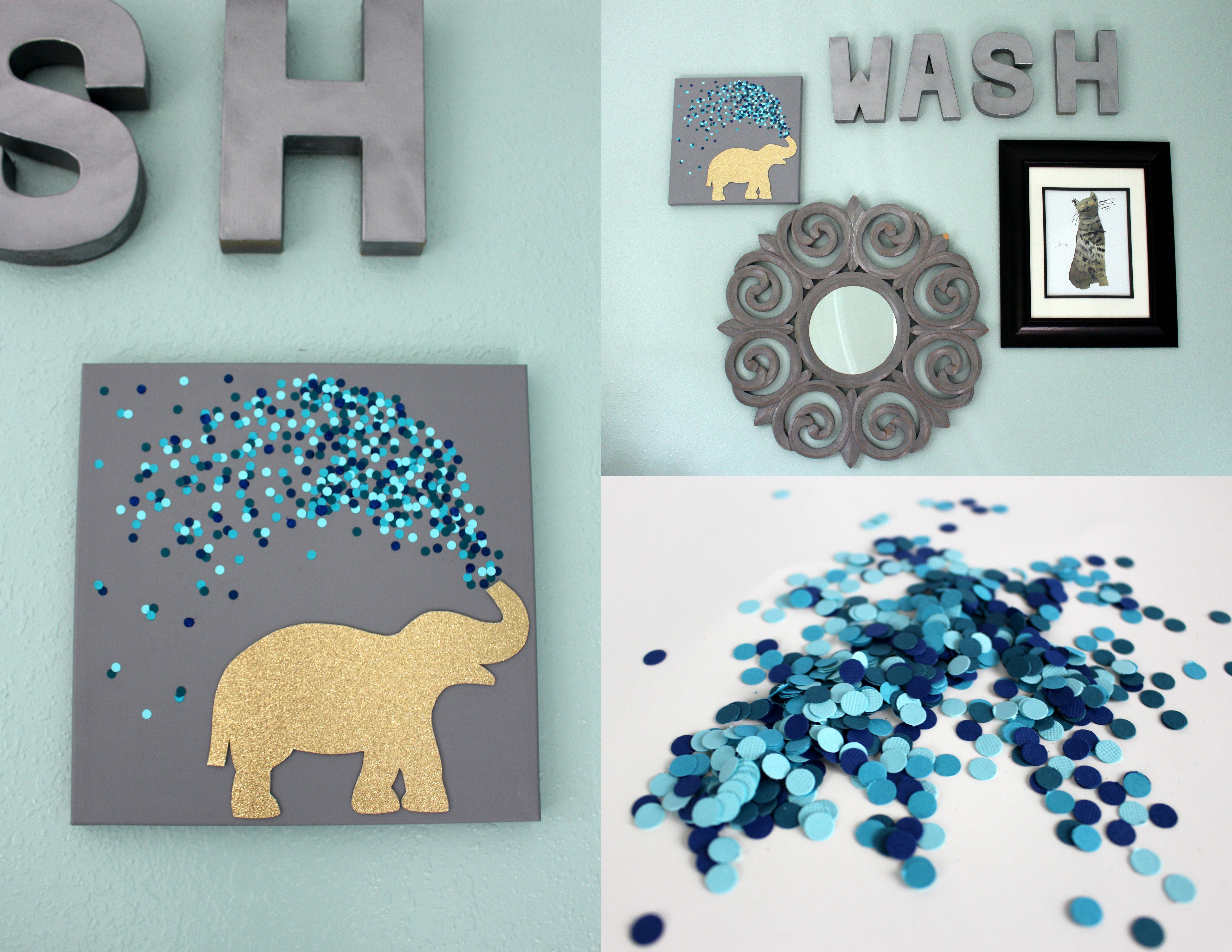 Diy 30 Minute Canvas Art Within The Grove Bathroom Art Diy Bathroom Canvas Art Elephant Canvas