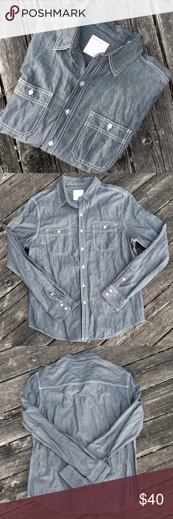 74439e93423 Life After Denim Gray Chambray Button-Down Shirt M