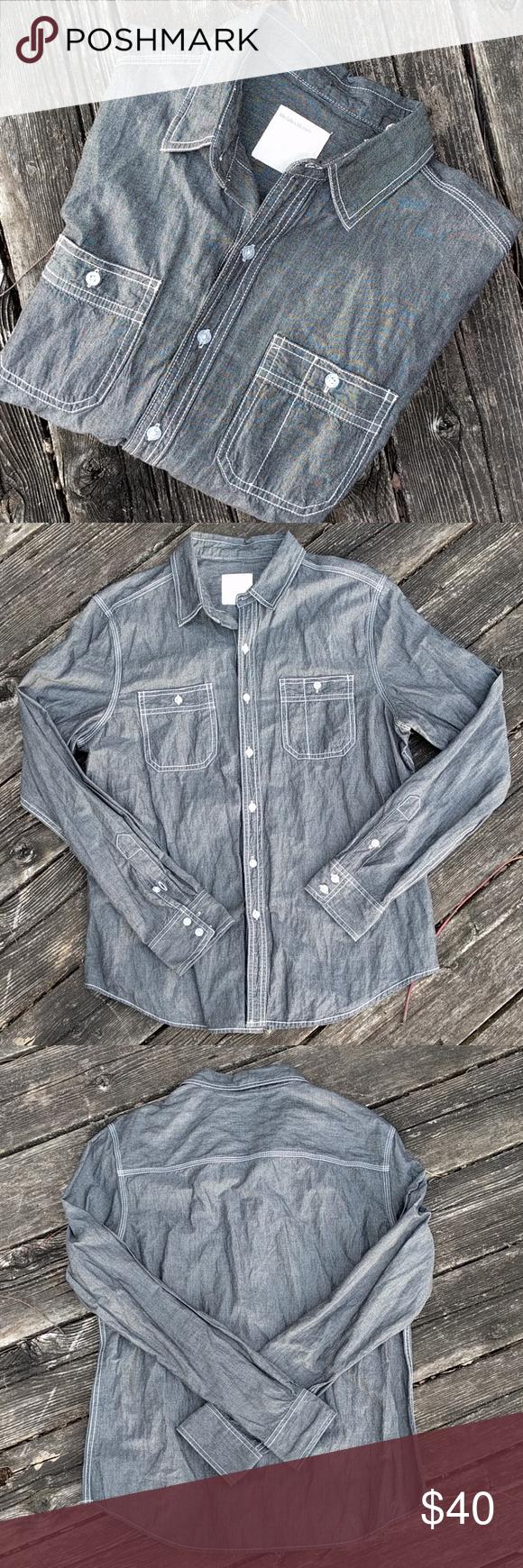 74439e93423 Life After Denim Gray Chambray Button-Down Shirt M