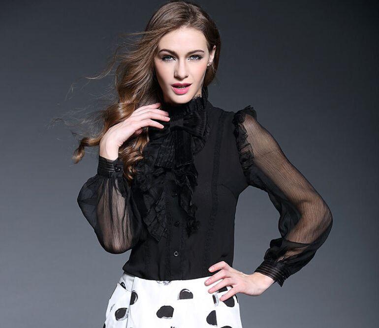 Top quality spring autumn ladies sexy elegant silk tops long ...