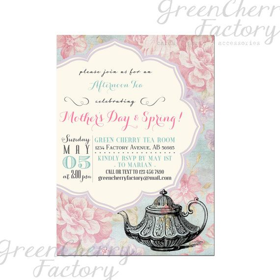 Motheru0027s Day Tea Party Invitation Afternoon by GreenCherryFactory - tea party invitation