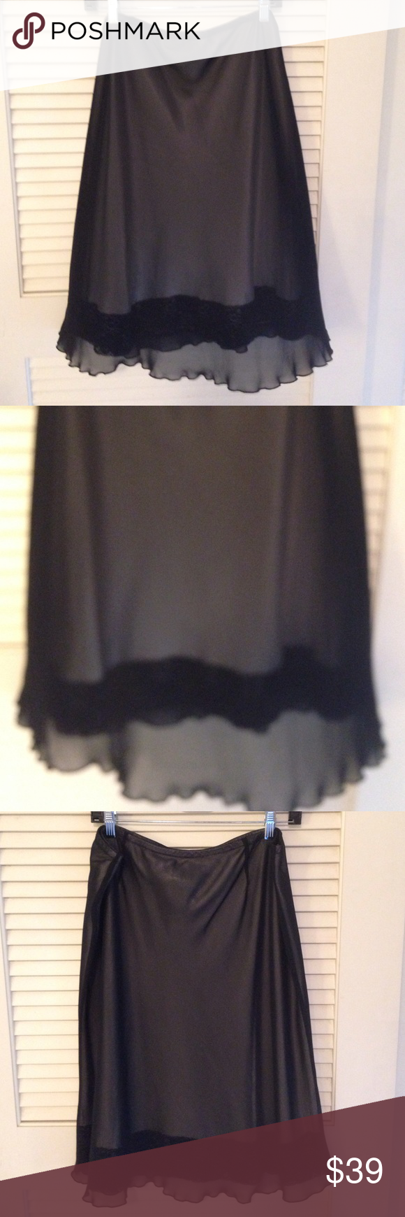 For The Republic skirt For The Republic skirt nude with black overlay. Very pretty lace trim and a trace of shimmer For The Republic Skirts Midi