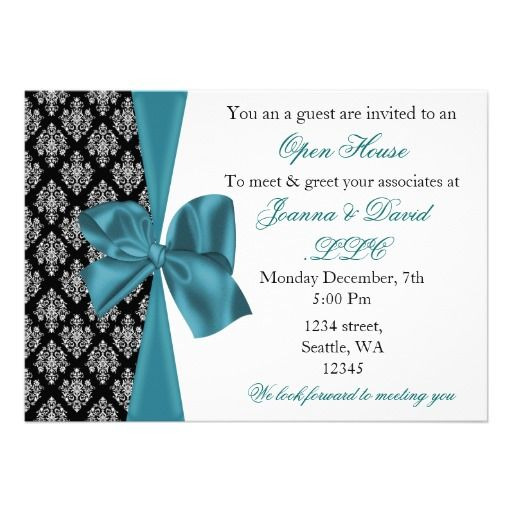 elegant stylish aqua Corporate party Invitation Open House - Business Meet And Greet Invitation Wording