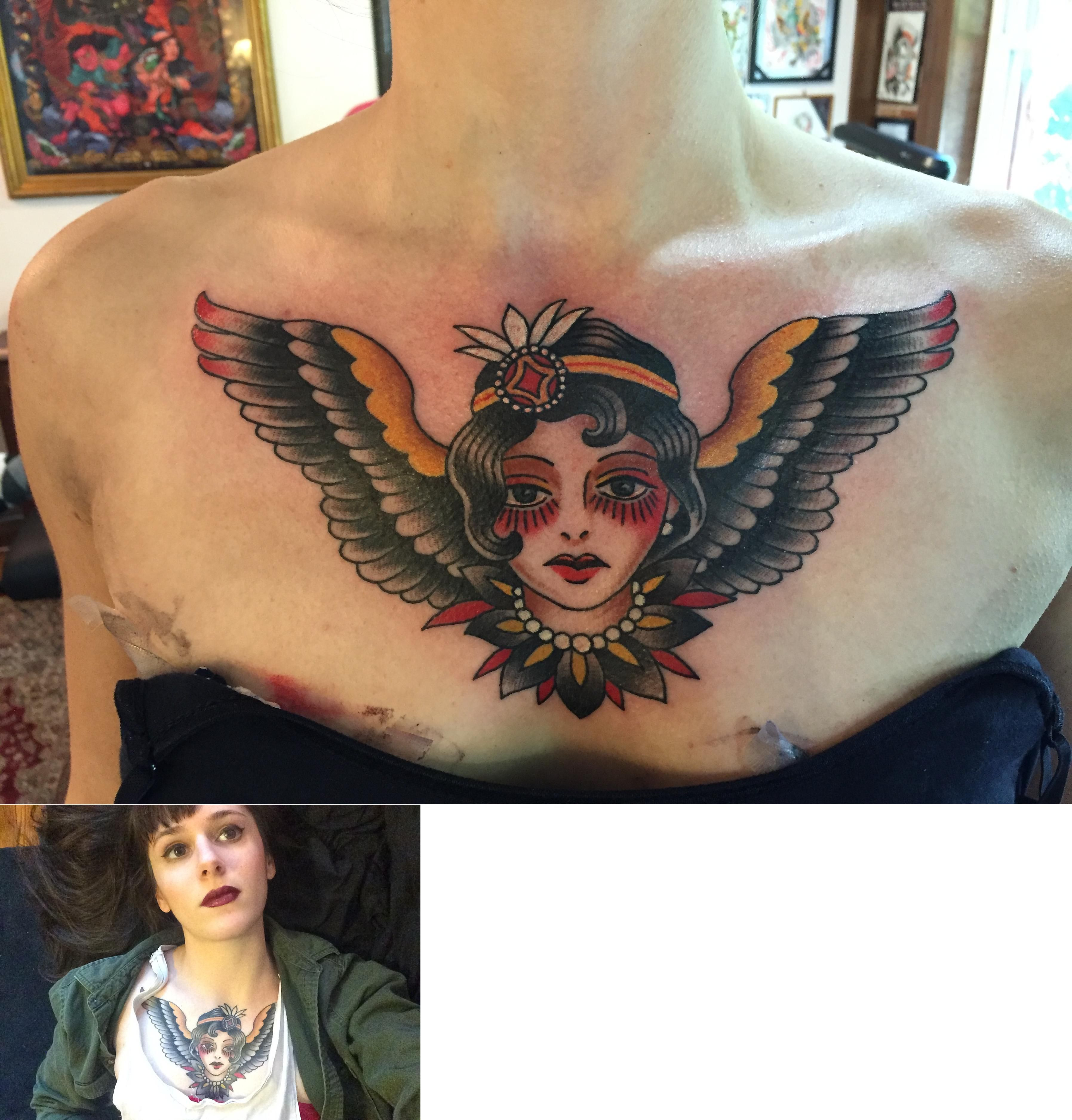 American Traditional Chest Tattoo (fresh And Healed) By