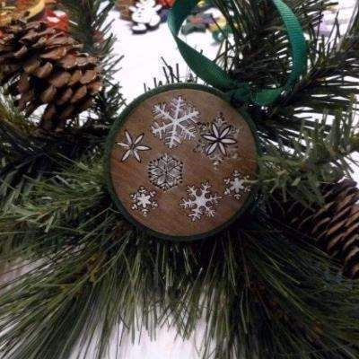 Snow flakes Christmas ornament Hand made hand painted wood