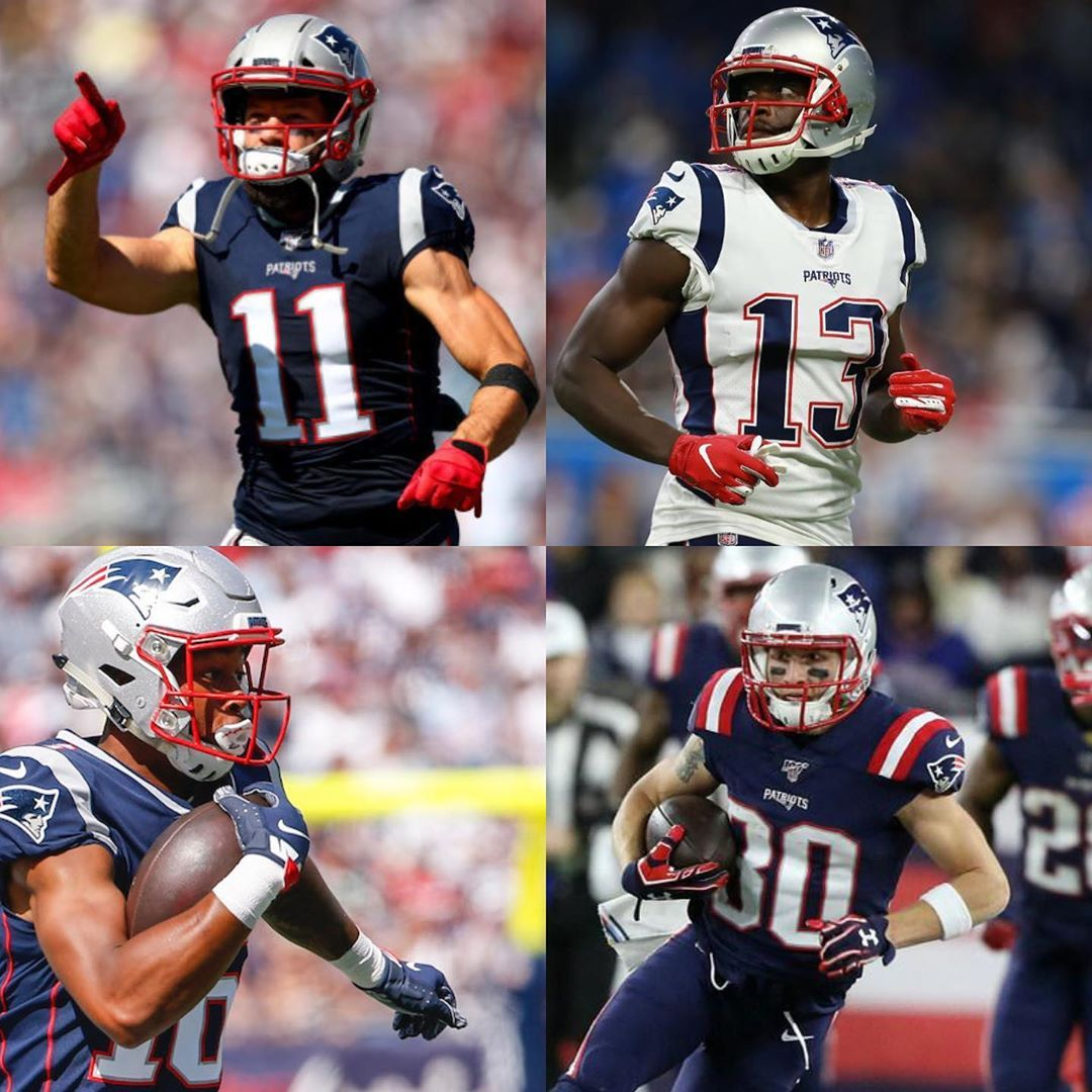 Monday S Receiving Core With Josh Gordon Being Downgraded To Out Gonna Be Interesting To See How Brady New England Patriots England Patriots Football Helmets
