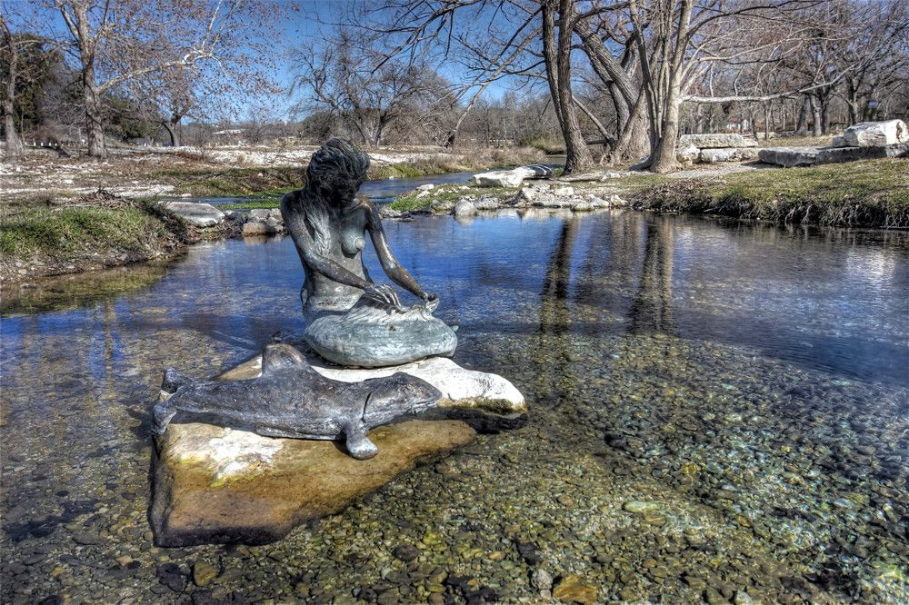 Sirena the Indian Mermaid statue in Salado, Texas