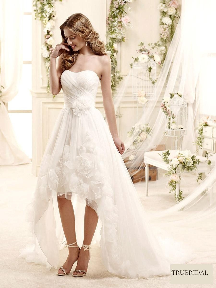 2015 A-Line Strapless High-Low Sweep Train Wedding Dresses