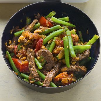Photo of Bean pan with strips of beef