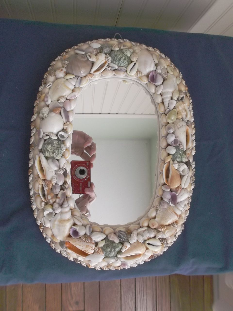 Handmade sea shell mirror oval frame beach cottage chic