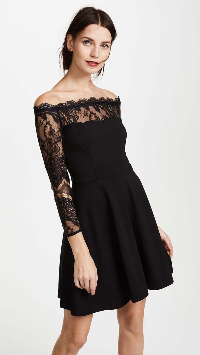 Lace Off The Shoulder Dresses For Holiday Parties, Winter Wedding Guests
