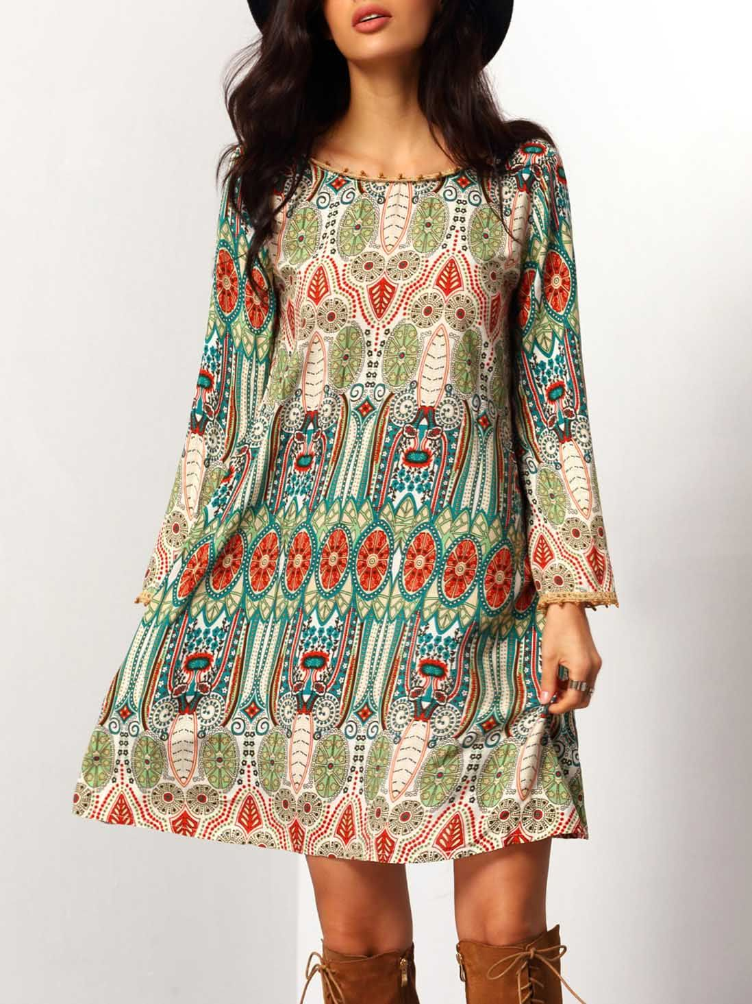 8b5a237fed7 Shop Aztec Print V Back Shift Dress online. SheIn offers Aztec Print V Back  Shift Dress   more to fit your fashionable needs.