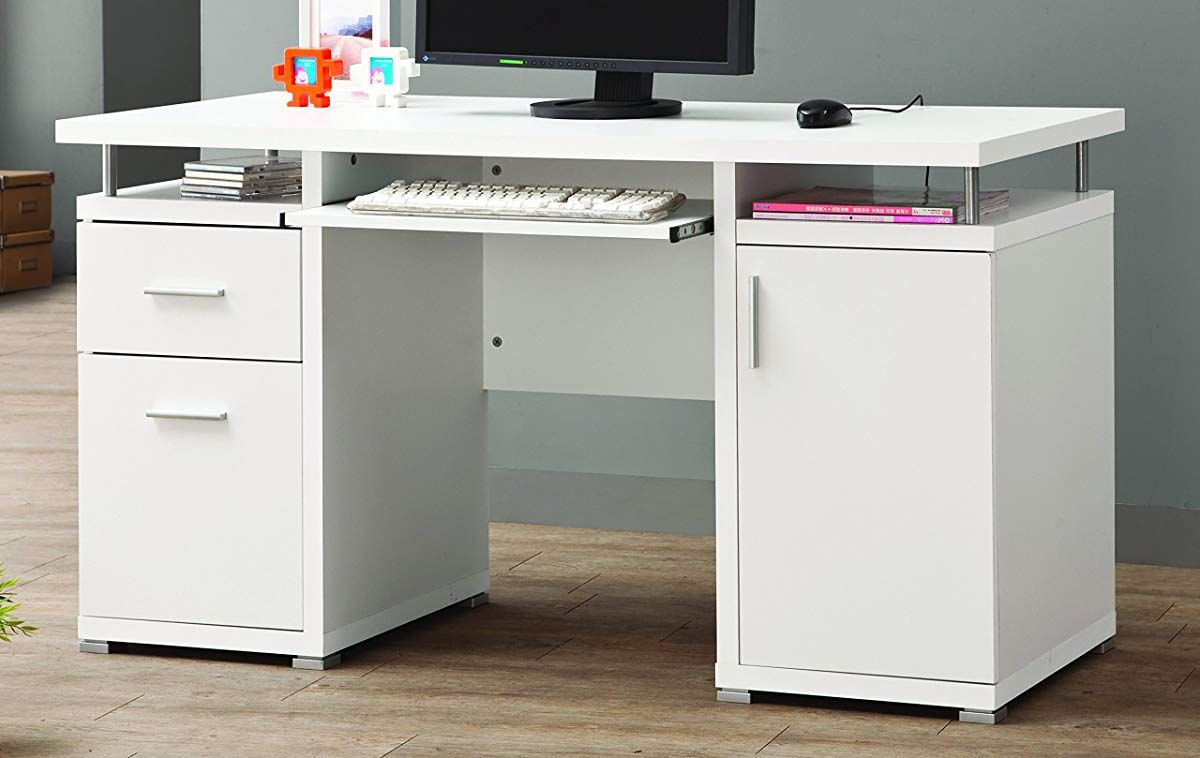 Coaster Home Furnishingsmodern Contemporary 2 Drawer 1 Cabinet Office Desk With Keyboard Tray White White Computer Desk Contemporary Computer Desk Desk
