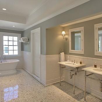 Half Tile Wall & Half Tile Wall | Bsthroom | Pinterest | Pedestal sink Transitional ...