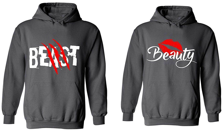 Couple Hoodie Sweatshirt Sweater Beauty And Beast Couple Matching Hoodie High Quality 0Cqp9ggZ