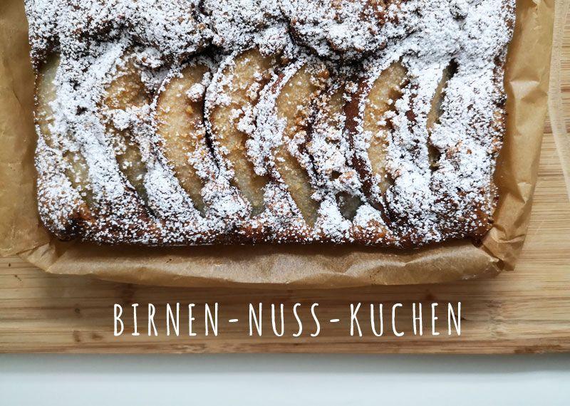 Herbstrezept <3 Birnen-Nuss-Kuchen mit Nougatcreme. Einfacher Blechkuchen, der gut gelingt! #birnenkuchen #herbst #backen #kuchen