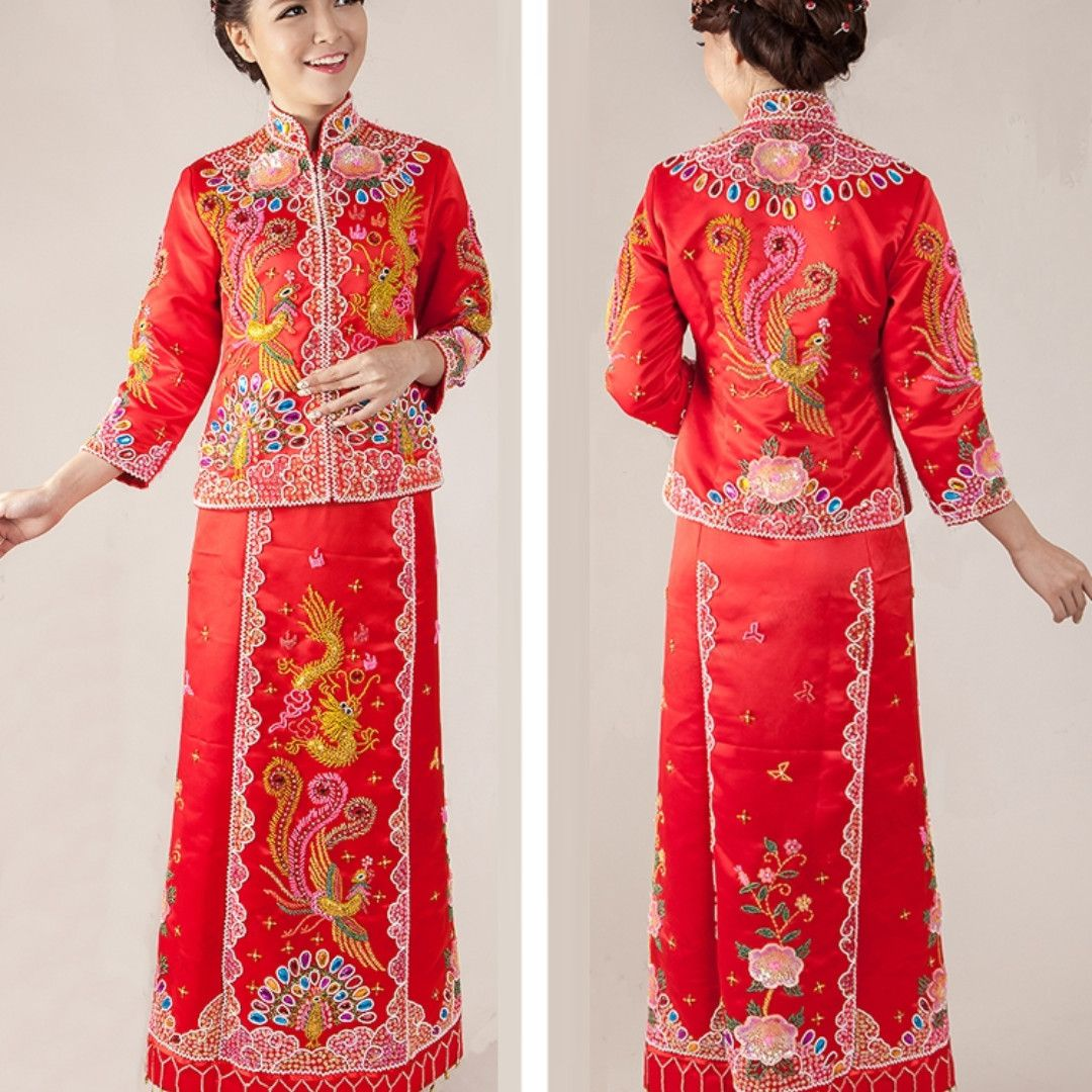 c19cb5d9c Be jewelled / beaded Qun Kua/ Kun Qua, Traditional Chinese Wedding Dress,  Tea Ceremony dress