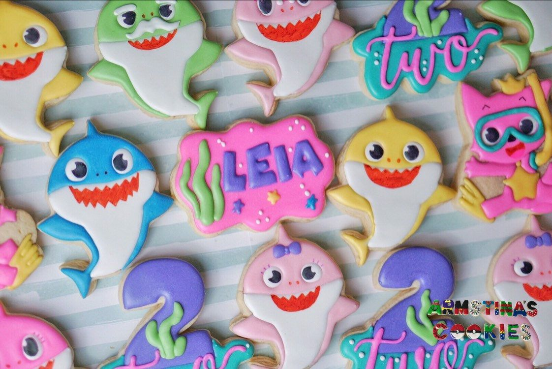 Baby Shark Cookies Shark themed birthday party, Shark