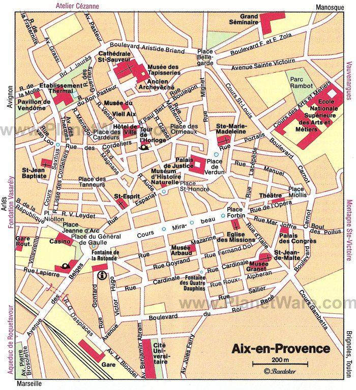 AixenProvence Map Tourist Attractions Trips Pinterest Aix