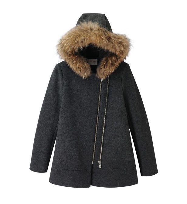 long manteau laine capuche fourrure