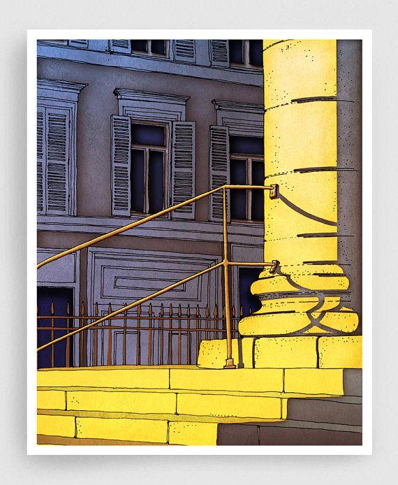 Paris illustration - Bonjour Paris - Art Print Poster Paris art Paris decor Home decor Living room art Sunshine Yellow Morning Architecture