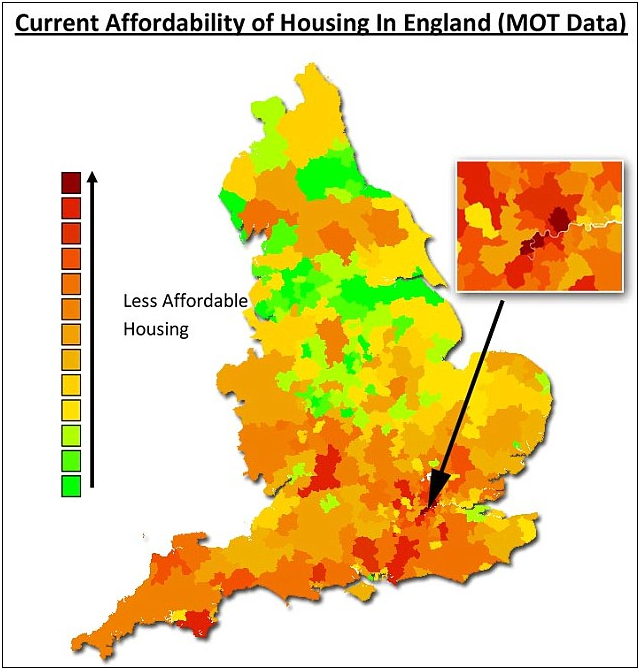 Heat Map Affordability Of Housing In England House Prices Area Map Heat Map