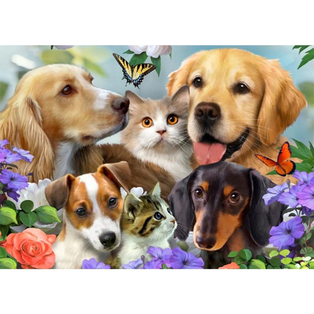 Puppies And Kittens Diy Diamond Painting Kit Animals Dog Art