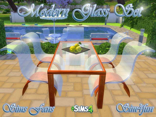 Modern Glass Set by Sim4fun at Sims Fans • Sims 4 Updates