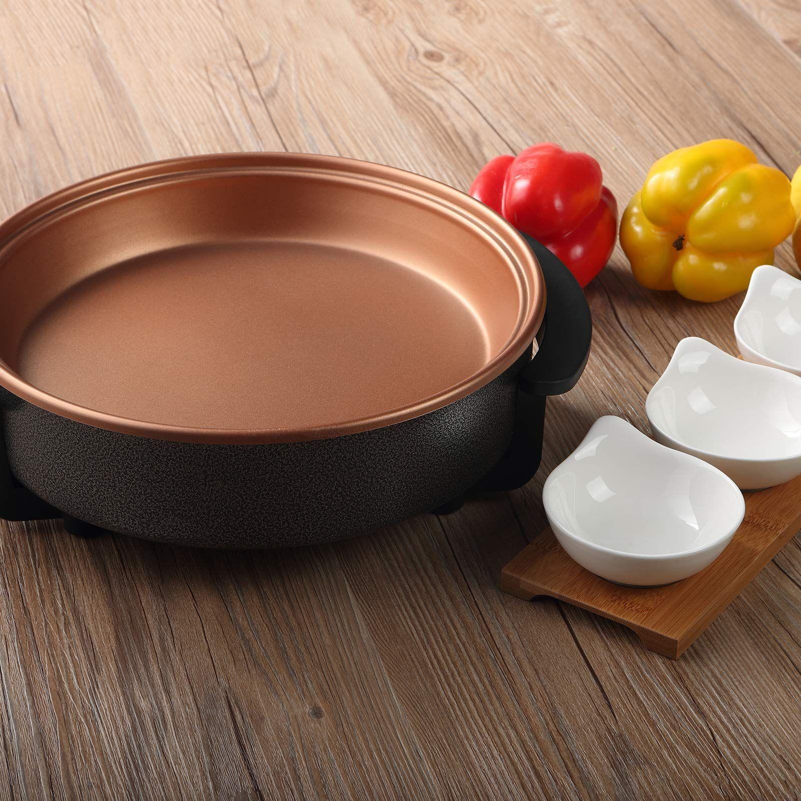 Caynel Nonstick Ceramic Copper Electric Skillet 12 Inch