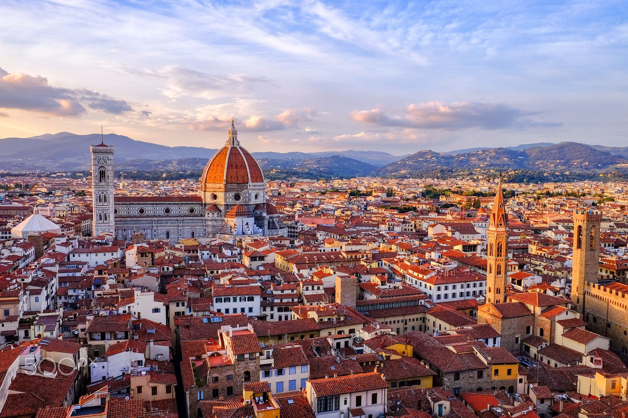 Bella - Florence at sunset, from the top of the Palazzo Vecchio. With a priviledged view of the Duomo.
