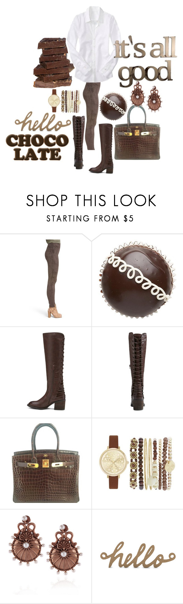 """""""Chocolate"""" by michelle858 ❤ liked on Polyvore featuring Sun & Shadow, Betseyville, Hermès, Jessica Carlyle, Sophia Kokosalaki and Letter2Word"""