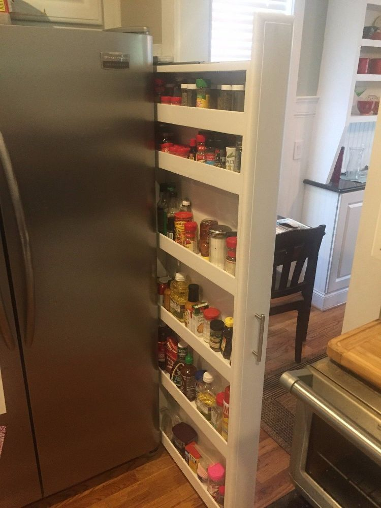 Custom Pull Out Spice Rack Tucked On The Side Of Our Refrigerator