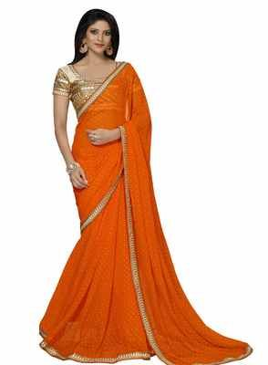 faca0af886 Spectacular Orange Color Border Worked Chiffon Saree - Buy Online in India  for prices starting at Rs. 1669 on Shimply.com. ✓ Fast Shipping ✓ 7 Days  Return ...