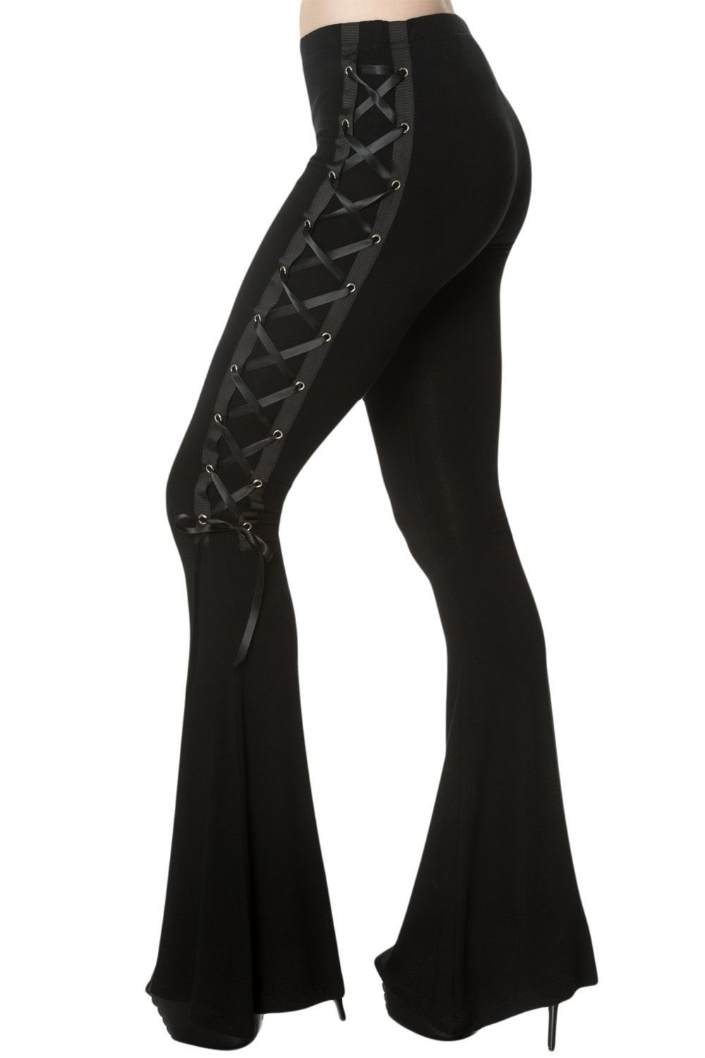 4c309952bf945 Gothic Punk Rave style flared Bell Bottom Pants made from stretch legging  type fabric. Elasticated waistband. Flared from the approximate knee down  to the ...