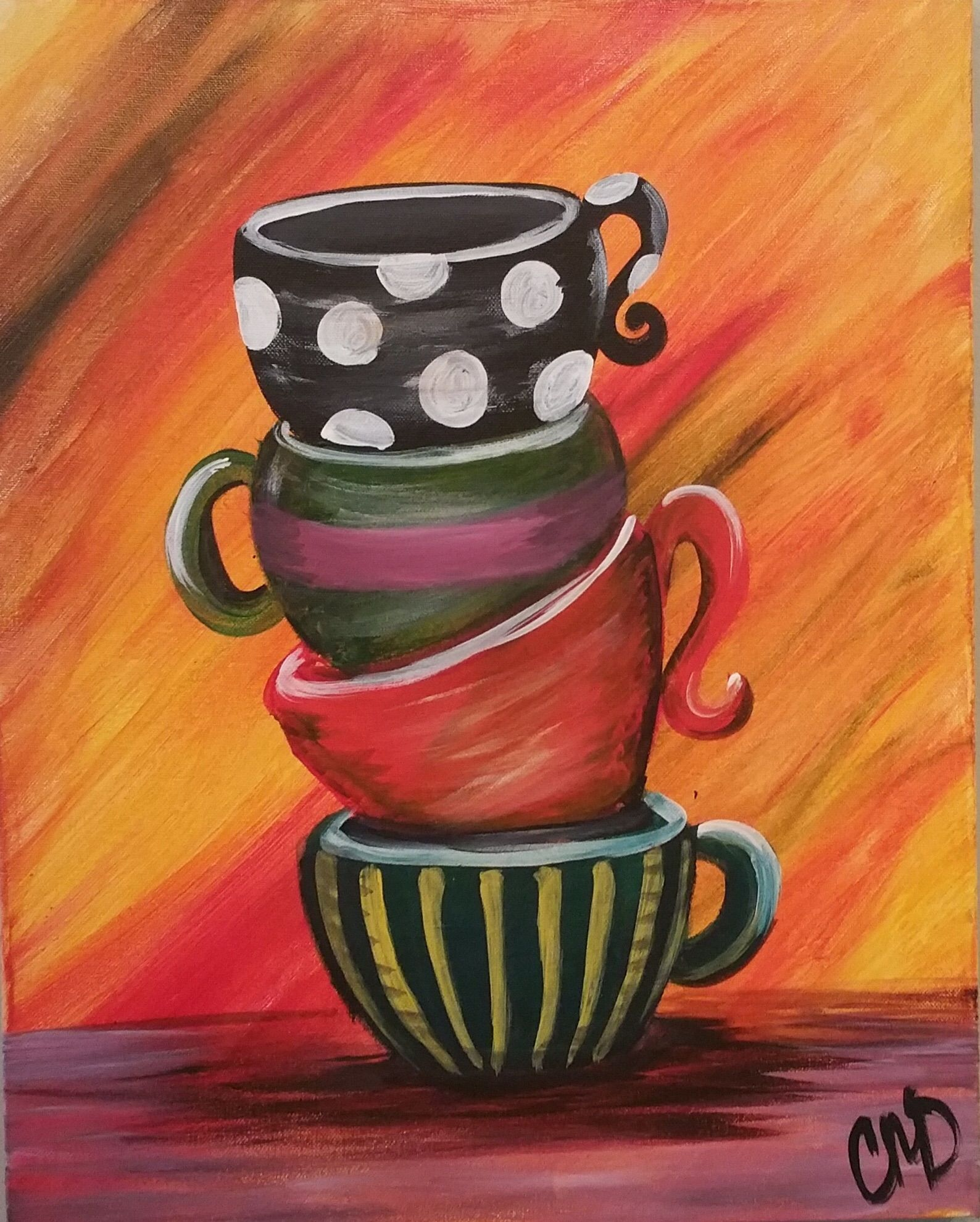 Cup of Java Coffee art painting, Cute canvas paintings