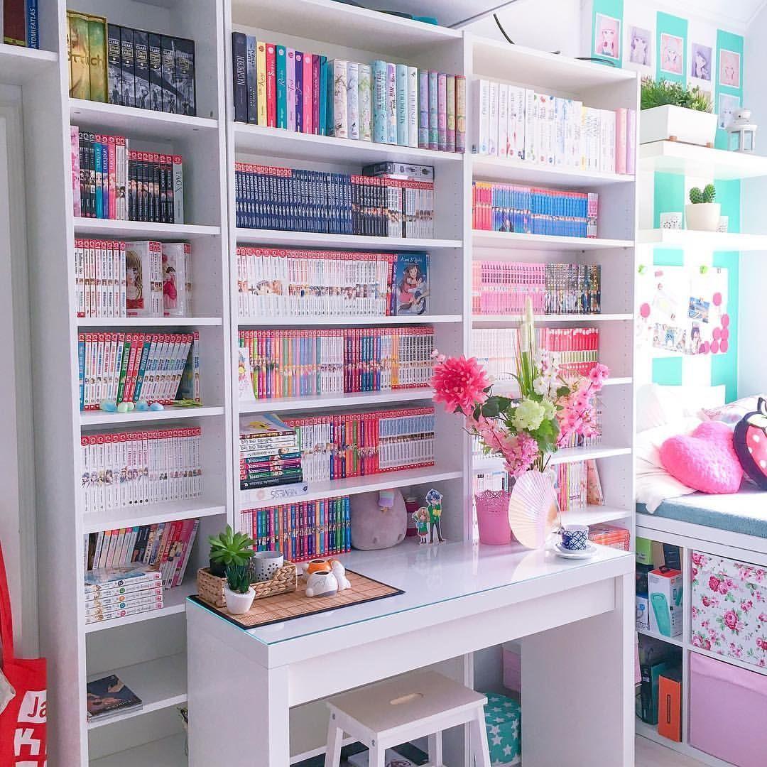 Manga Bookshelf Manga Bookshelf Otaku Room Office Room Decor Kawaii Room