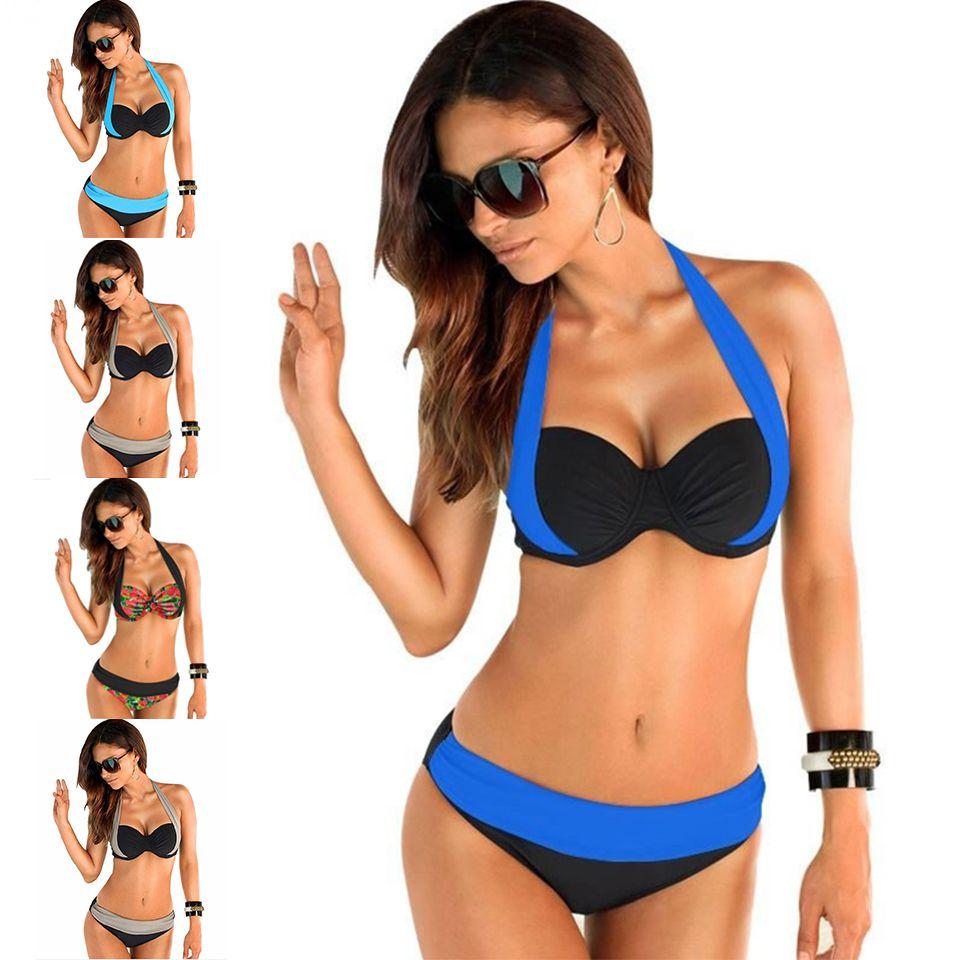 여성 패치 워크 높은 허리 비키니 브라질 해변 플러스 사이즈 Biquini Cintura 알타 수영복 Blockcolor 수영복 20
